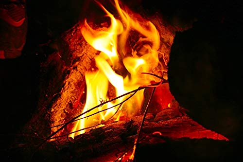 Home Comforts Peel-n-Stick Poster of Fire Camping Bonfire Night Vivid Imagery Poster 24 x 16 Adhesive Sticker Poster Print]()