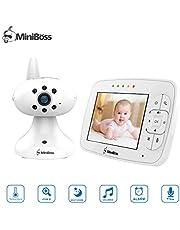 "MiniBoss Baby Monitor with Camera 3.5"" LCD Video Audio Monitor Temperature Sensor Night Vision Lullaby Two-Way Talk"