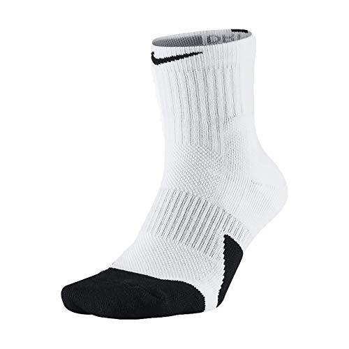 Unisex Nike Elite 1.5 Mid Basketball Sock, White(Sx5594-100)/Black/Black, Large