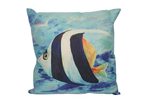 "oFloral Cotton Linen Marine Life Home Decorative Pillow Cushion Case Tropical Fish C Throw Pillow Cover 18""X18""(Two Sides) Gift for Men,Women,Dad,Mom Uncle,Sister,Friend (Style 34)"