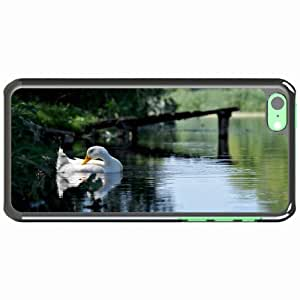 iPhone 5C Black Hardshell Case lakes forest goose bird Desin Images Protector Back Cover