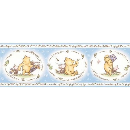 Imperial Disney Home DF059323B Pooh Classic Wall Border, Pastel Blue, 6.83-Inch Wide ()