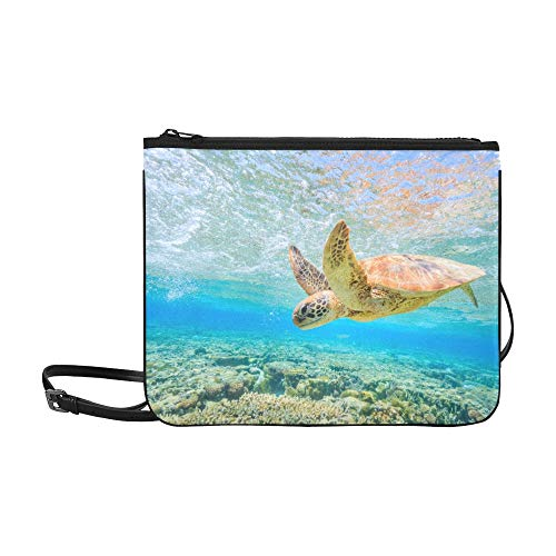 Travel Shoulder Bags A Turtle Diving Back To The Reef In A Shallow Lago High-grade Nylon Adjustable Shoulder Strap Men Shoulder Bags For Shopping Travel Hiking Work