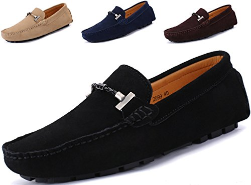 Black Calfskin Loafer Shoes - Go Tour New Mens Casual Loafers Moccasins Slip On Driving Shoes Black 38