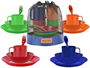 Wealers Camping Mess Kit, 16-Piece Dinnerware Set with Sporks, Plates, Bowls and Mugs, 4 Person Backpacking Lu