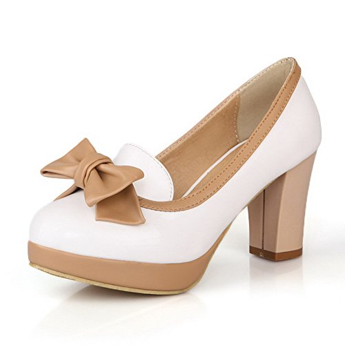 Leather Pumps Closed Shoes WeiPoot Color Toe Patent Round 40 Assorted White Women's xr11qwI8f0