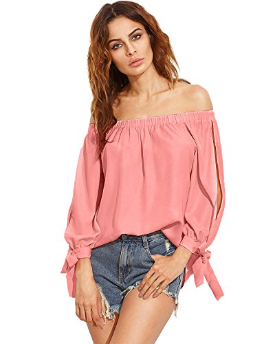 Denim Long Sleeve Blouse - ZANZEA Women's Off The Shoulder Split Knotted Long Sleeve Blouse Loose Boat Neck Tie Cuff Top Shirts Pink XL