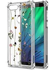Oihxse Cristal Compatible con Samsung Galaxy A10 Funda Transparente TPU Silicona Estuche Airbag Esquinas Anti-Choque Anti Rasguños Diseño Rosa Flower Caso (Flores A6)