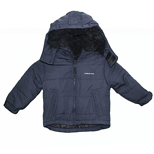 London Fog Toddler Boy's Navy Hooded Bubble Jacket With Teddy Faux Fur Lining L217851 Outerwear, Navy, 4T