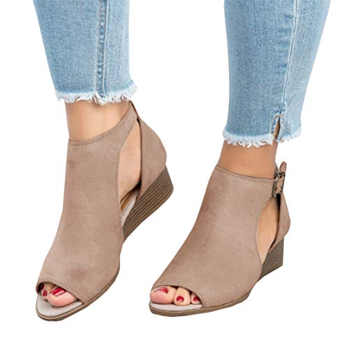 Kathemoi Womens Wedge Sandals Peep Toe Ankle Strap Cutout Low Heel Work Summer Boots Khaki