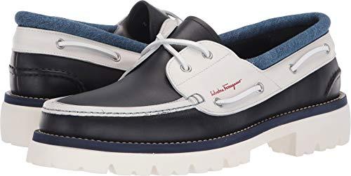 (Salvatore Ferragamo Men's Ambler Boat Shoe Dark Blue/Off-White 9 M US)