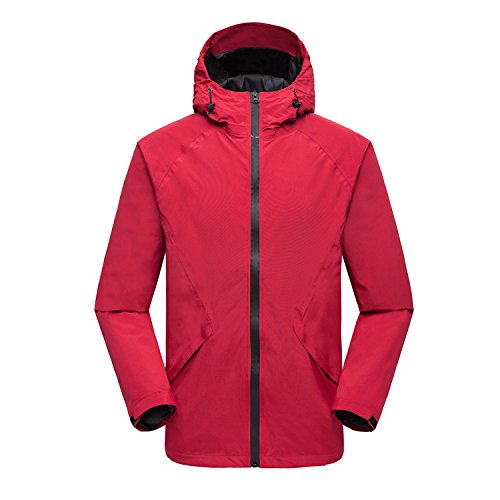 Collar Jacket Outdoor Waterproof M RedMale Women Coat FYM JACKETS DYF Long Men Sleeves Zipper pAWPZYq