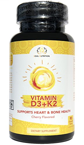 Vitamin D3 (2,000 iu) with K2 (Mk7) - Premium Formula for Heart, Bone and Teeth Natural Health Support - Better Absorption - Boost Immune System - NON-GMO & Gluten Free - One taste chewable tablet/day