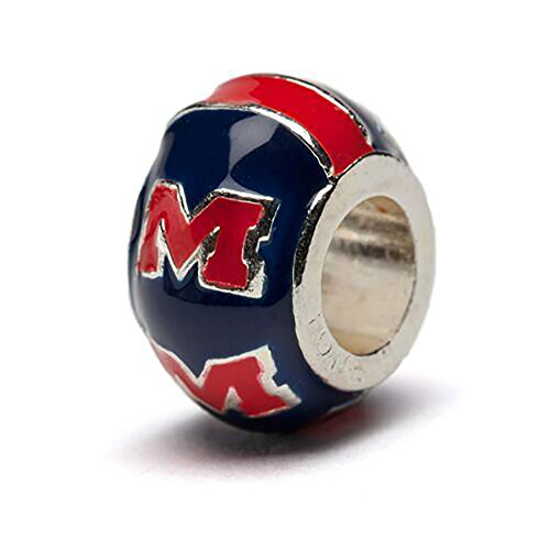 University of Mississippi Charm | Ole Miss Rebel - Red M on Round Blue Bead Charm | Officially Licensed University of Mississippi Jewelry | Fits On Most Popular Charm Bracelets | Stainless Steel