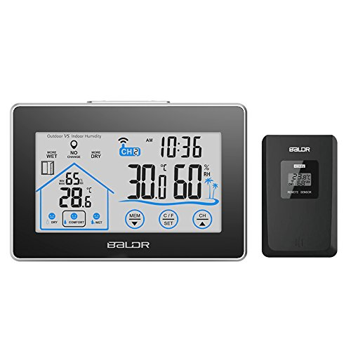 BALDR LCD Touch Screen wireless Weather Station, Displays Temperature and Humidity, Outdoor Sensor Included