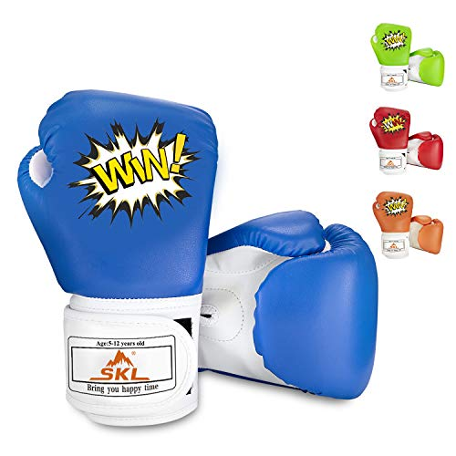 Kids Mitt Gloves - SKL Kids Boxing Gloves 4oz Training Gloves for Children Cartoon Sparring Boxing Gloves Training Mitts Junior Punch PU Leather Age 5-12 Years Blue