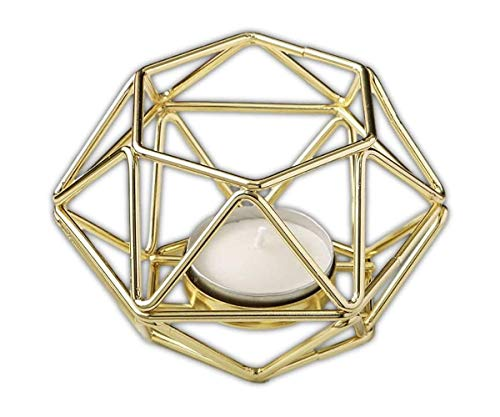 FavorOnline Gold Hexagon Shaped Geometric Design Tea Light/Votive Candle Holder, 24