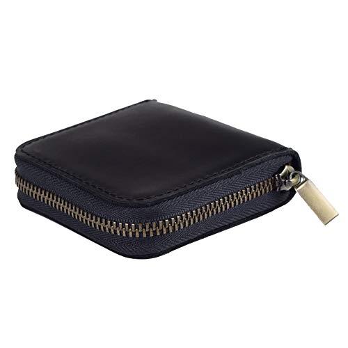 Fuinloth Leather Condom Case Condom Holder Small Zipper Bag Black