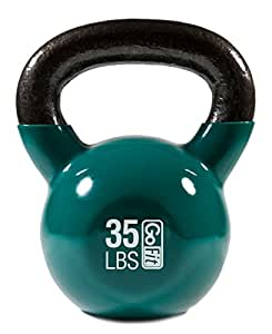 GoFit 20-Pound Blue Kettlebell with Vinyl Coating, Iron Core Training DVD and Exercise Booklet