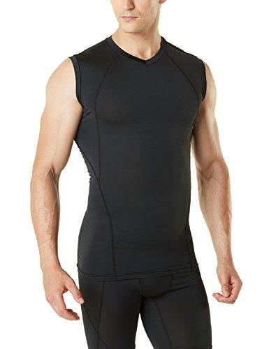 TSLA Men's Muscle Tank Sleeveless Compression Baselayer, V Neck(muv06) - Black, Large (Shirt Sport V-neck Spandex)