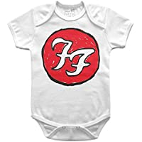 Body Bebê Foo Fighters Handmade, Let's Rock Baby, Branco