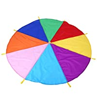 GLOGLOW Play Parachute Rainbow Colorful Play Parachute with 8-Handle Kids Tent Cooperative Games Birthday Gift