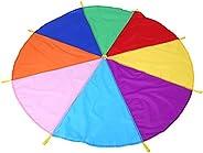 Rainbow Play Parachute, 8 Handles 2m Diameter Kids Play Rainbow Outdoor Teamwork Game Parachute Multicolor Toy