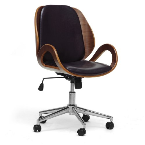 Baxton Studio Watson Modern Office Chair, Walnut/Black