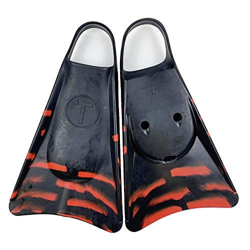 Tribe T2 Swimfins for Bodyboarding, Kids Snorkel fins, Swimming Flippers and bodysurfing - XS Black/Red