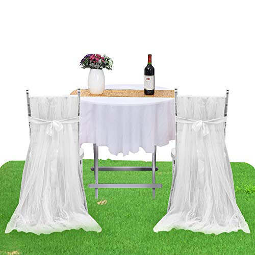 White Tulle Chair Skirt Baby Shower Chair Cover Tutu High Chair Skirts for Birthday Party Wedding Bridal Shower Decorations (2 pcs skirts & 2 pcs sashes) -