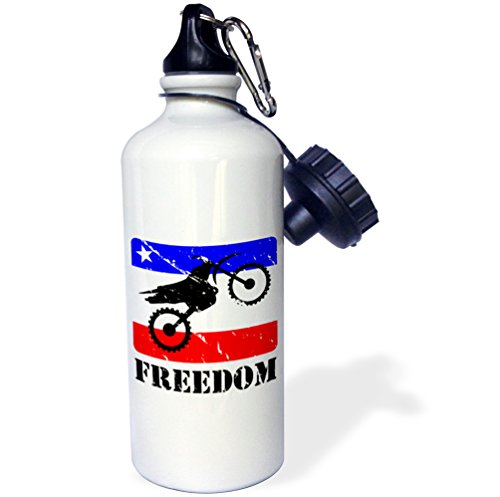 3dRose wb_180540_1''Distressed dirt bike graphic, freedom text, red, white, blue banner'' Sports Water Bottle, 21 oz, Multicolor by 3dRose