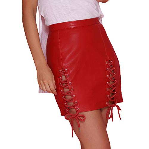 Juqilu Femme PU Jupes en Cuir Mini Jupe Courte Taille Haute Jupe Crayon Vintage Bodycon Tendance Look Jupe S-XL 1#