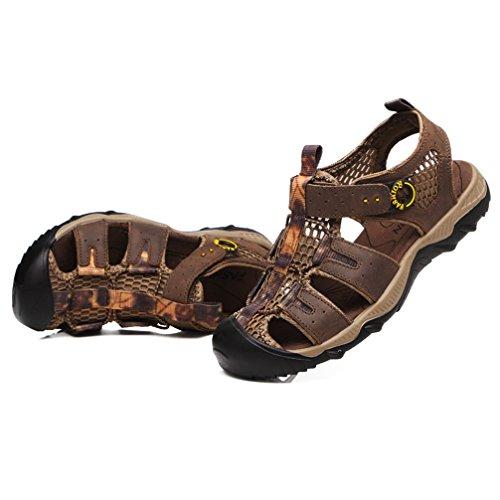 結紮残高ジャンル[XINXIKEJI]メンズ スポーツサンダル ビーチサンダル 24.0-27.0CM つま先保護 通気性 蒸れない 耐磨 軽量 アウトドア ウォーターシューズ 通勤/通学/旅行/お出かけ/登山 防滑 心地良い 運動靴 ダークブラウン ライトブラウン