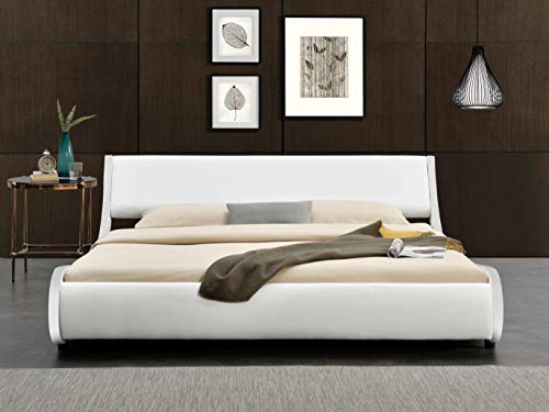Bedroom Allewie Modern Low Profile Wave Like Queen Size Platform Bed Frame with Curved Adjustable Headboard & Wooden Slats… modern beds and bed frames
