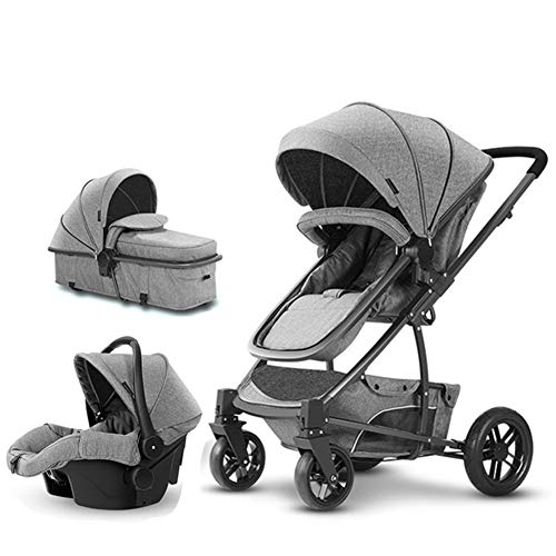 Rabbfay 3 in 1 Luxury Strollers Reversible Baby Carriage for Sit and Lie, Protable Baby Stroller and Baby Bassinets Folding Pram, High-Landscape Easy Carry Pram for Newborns Pushchair,Gray