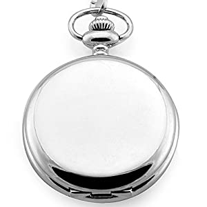 Smooth Stainless Steel Case White Dial Arabic Numbers Modern Pocket Watch with Chain