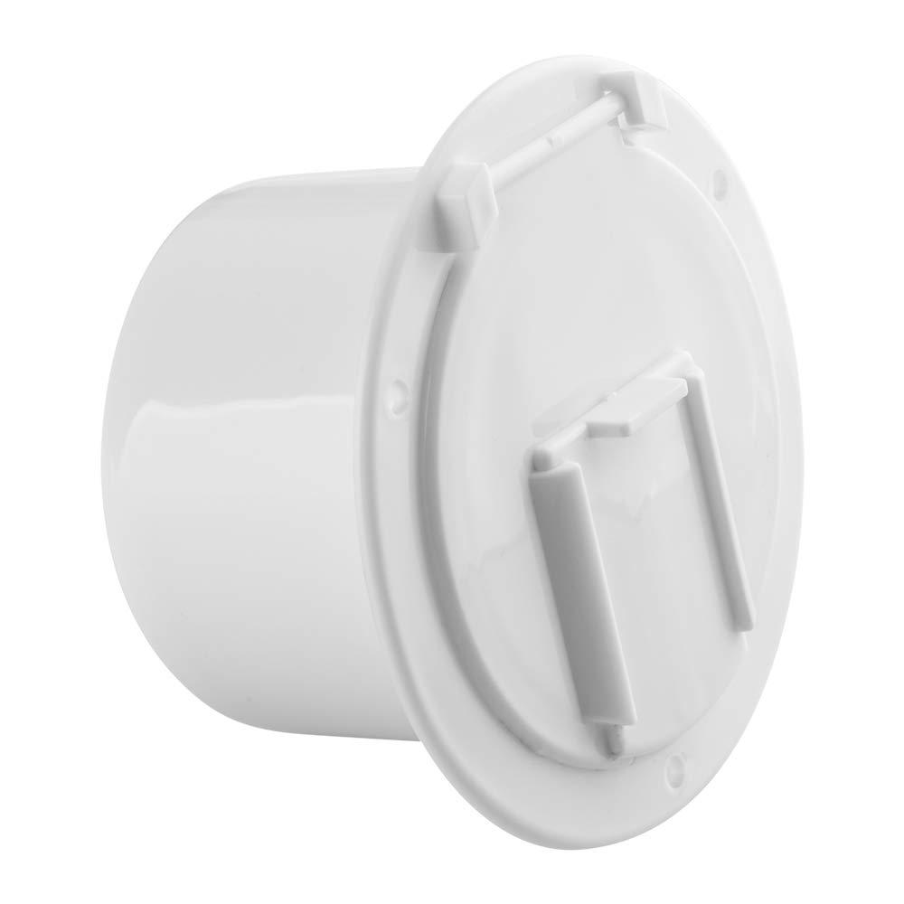 Halotronics 4 3/4-inch Round RV Electrical Cable Hatch for 30 and 50 Amp Cord – White – Features Snap Close Lid and Easy Installation - New 2019 Model
