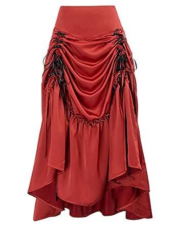 Belle Poque Mujer Falda Midi Vintage A-Linea Alta Cintura Color ...
