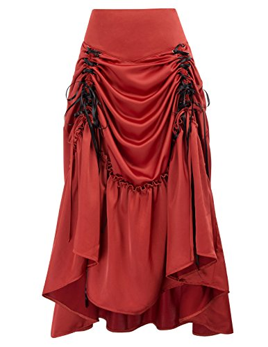 Bustle Corset - Belle Poque Steampunk Gothic Victorian High Low Skirt Bustle Style (2XL, Red-617)