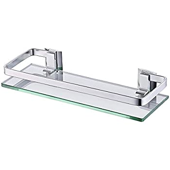 Amazon.com: Modern Wall Mounted Rectangular Clear Glass Floating ...