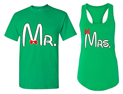 Mr. and Mrs. 1 Matching Couple T Shirts - His and Hers Racerback Tank Tops