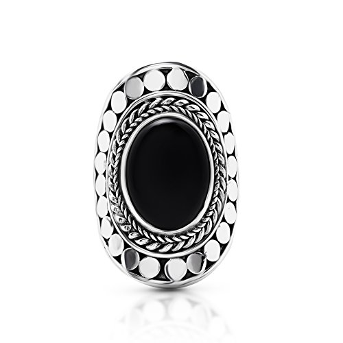 (Koral Jewelry Black Onyx Oval Stone Vintage Ring 925 Sterling Silver US Size 6 7 8 9 10 (10) )