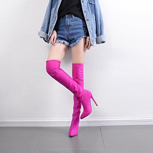 ZHZNVX la sobre botas rodilla botas botas tacón largas elástico de de alto black Patín calcetines qfqU1p