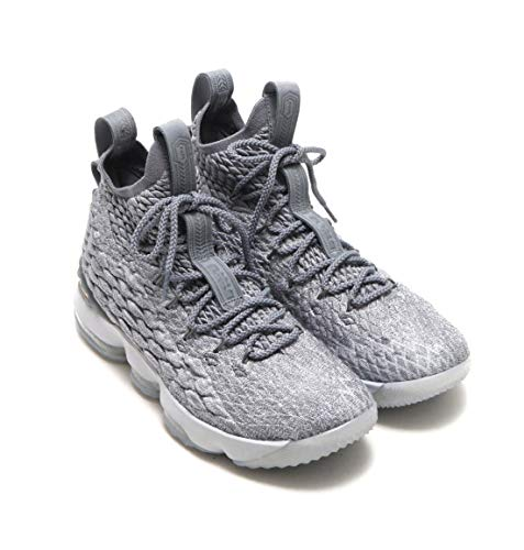 Nike Youth Lebron XV (GS) Boys Basketball Sneakers Wolf Grey/Metallic Gold 7Y ()