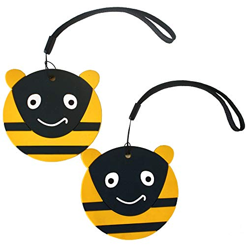 Nido Nest Cute Luggage Tags for Kids - Personalized Bag Tag Girls Boys Set 2 BUMBLEBEE