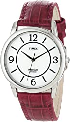 Timex Women's T2N689 Elevated Classics Dress Color Strap Collection Berry Leather Strap Watch