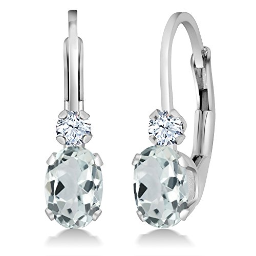 Aquamarine Leverback Earrings (0.94 Ct Oval Sky Blue Aquamarine White Created Sapphire 14K White Gold Earrings)