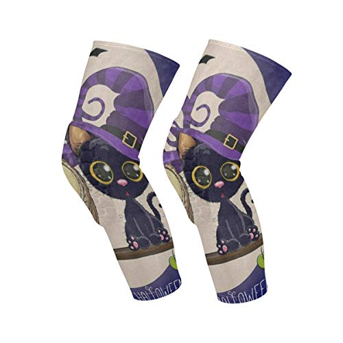 Knee Sleeve Happy Halloween Cartoon Cat Owl Full Moon Full Leg Brace Compression Long Sleeves Pant Socks for Running, Jogging, Sports, Crossfit, Basketball, Joint Pain Relief, Men and Women 1 -