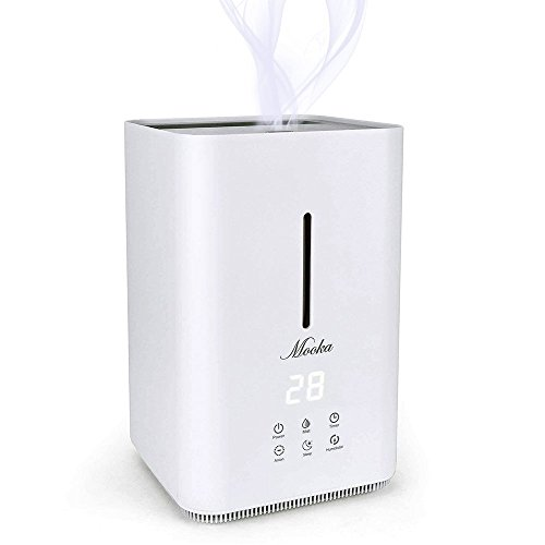Mooka Top Fill Humidifier, Ultrasonic Cool Mist Humidifier, 4L Large Capacity, Humidity Sensor, Timer, Whisper-Quiet Operation with Adjustable Mist Mode for Home, Office, Bedroom, Baby Room