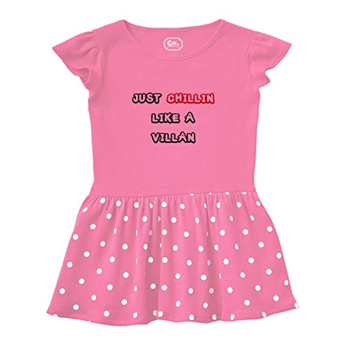 Cute Rascals Just Chillin Like A Villan Short Sleeve Taped Neck Girl Cotton Toddler Rib Dress School Clothes - Hot Pink, -